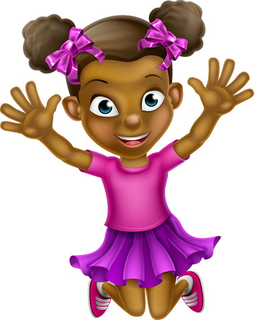 Happy cartoon young black girl jumping for joy