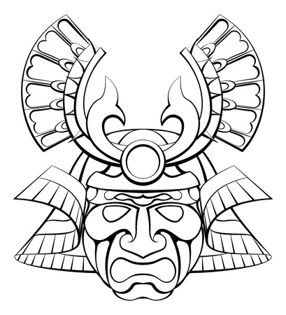 A samurai mask helmet design illustration