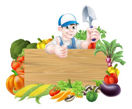 Jardinero personaje de dibujos animados la celebración de una herramienta de paleta de jardín mano pala y dando un pulgar hacia arriba rodeado de productos vegetales Ilustración de vector
