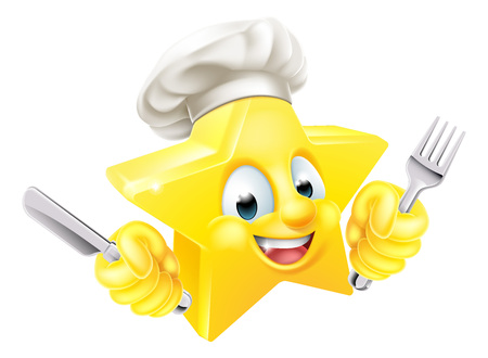 Cartoon star chef emoji emoticon mascot character in a chef hat holding a knife and fork