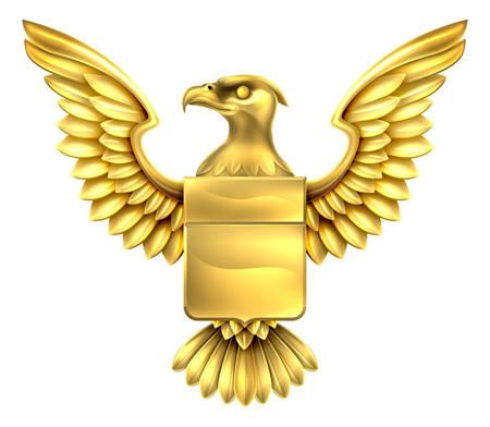 An eagle golden metal shield heraldic heraldry coat of arms design.