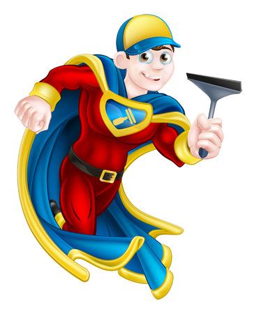 Cartoon glazenwasser of auto wassen man super held mascotte houdt een rakel Vector Illustratie