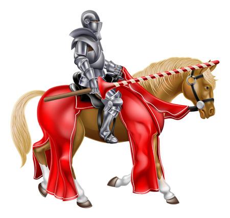 Middeleeuwse ridder op een paard met een lans reay voor een steekspel Stock Illustratie