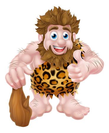 Un uomo delle caverne cartone animato in una pelle di animale con un pollice alzato e in possesso di un club.