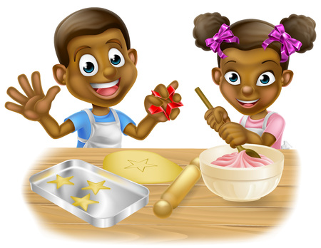 A cartoon black boy and girl children dressed as bakers baking cakes and cookies Çizim