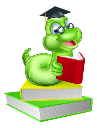 Cute smiling green cartoon caterpillar worm bookworm mascot wearing glasses and mortar board graduation hat reading a book