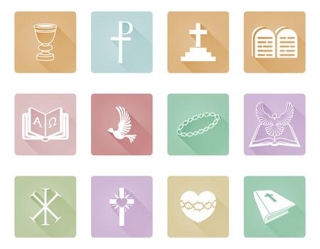 Un conjunto de iconos y símbolos cristianos, incluyendo la corona de espinas, paloma, omega alfa y cruz