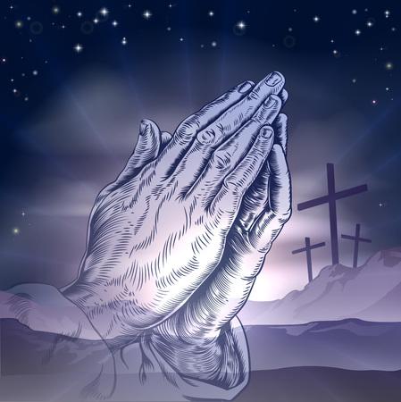 Christian Ostern Konzept der drei Kreuze auf einem Hügel und betende Hände