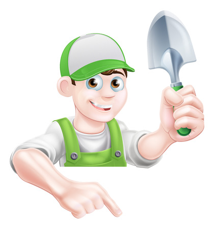 Un personaje de dibujos animados de jardinero en una gorra y un peto verde que sostiene una herramienta paleta de jardín y apuntando hacia abajo