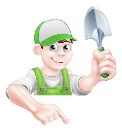 Een cartoon tuinman karakter in een cap en groene tuinbroek met een tuin troffel gereedschap en naar beneden gericht
