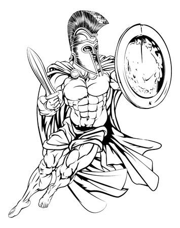 Een illustratie van een gespierde sterke Griekse Spartaanse Vector Illustratie