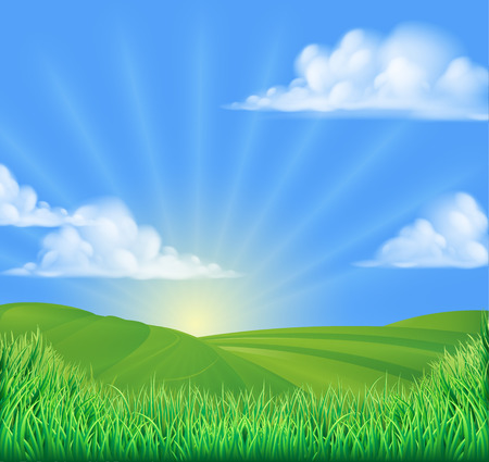 A rolling hills field sun background landcape illustration 矢量图像