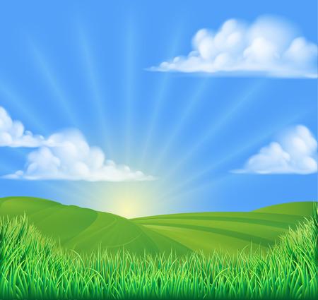 A rolling hills field sun background landcape illustration Illustration
