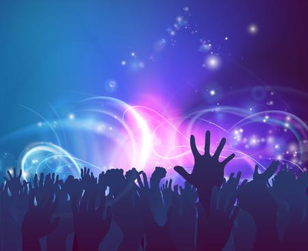Menigte achtergrond van de volkeren handen omhoog in de viering in silhouet met abstracte achtergrond verlichting