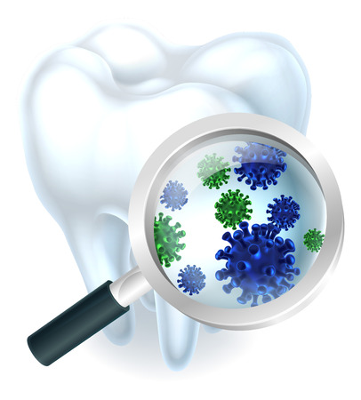Microscopic bacteria tooth concept of a tooth with a magnifying glass showing microscopic bacteria or viruses Çizim