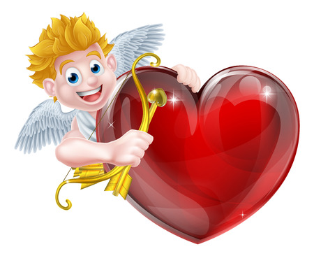 Cupid valentines day angel cartoon with his gold bow and heart arrow in peeking around a big red valentines heart with room on it for a message  イラスト・ベクター素材