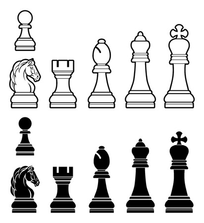 A complete set of chess pieces in black and white