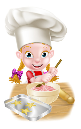 A happy girl baker in chefs hat stirring a bowl of cake mix with a wooden spoon