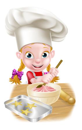 Un panadero niña feliz en el sombrero de chefs agitando un tazón de mezcla de pastel con una cuchara de madera