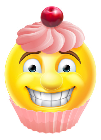 A cartoon pink cupcake cake emoji emoticon smiley face character