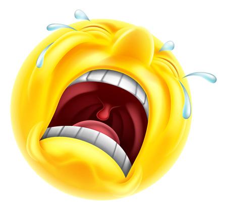 Een erg overstuur triest huilende emoji emoticon smiley karakter met tranen schieten uit