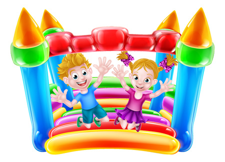 Cartoon boy and girl jumping on a bouncy castle Çizim