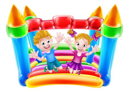 Cartoon Chłopiec i dziewczynka skoki na dmuchanym zamkiem
