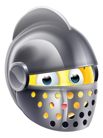 Knight cartoon emoji emoticon smiley face character wearing a medieval knights helmet
