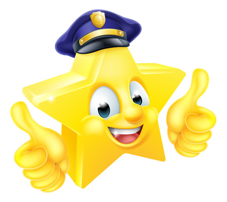 Cartoon star police emoji emoticon mascot character giving a thumbs up