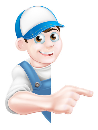 Cartoon mechanic, plumber, handyman, decorator or gardener leaning around a sign and pointing