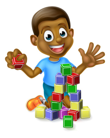 A happy cartoon black boy child kid playing with building or learning blocks