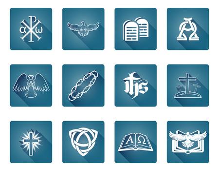 Eine Reihe von christlichen religiösen Symbolen und Zeichen