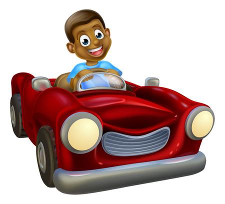 Een cartoon zwarte jongen met plezier het besturen van een rode auto