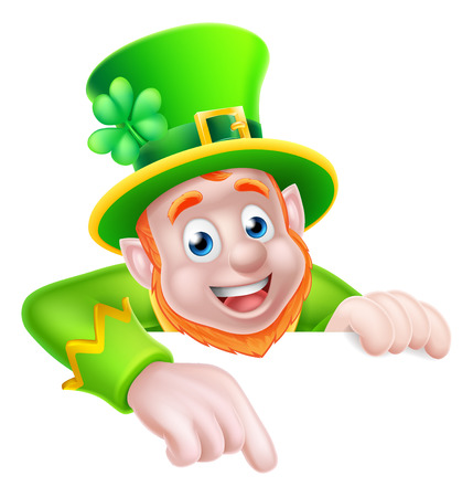 Leprechaun cartoon St Patricks Day character peeking above a sign and pointing down at it