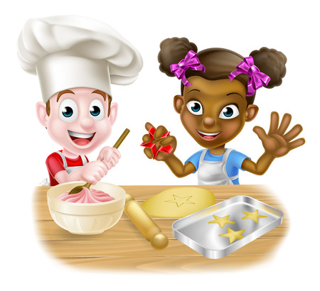 Cartoon boy and girl kids, one black one white, dressed as chefs or bakers baking cakes and cookies Çizim