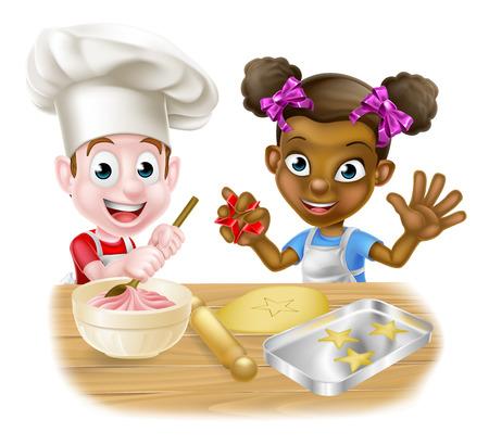 Muchacho de la historieta y de la muchacha niños, uno negro, otro blanco vestidos de cocineros o panaderos horneando pasteles y galletas Ilustración de vector