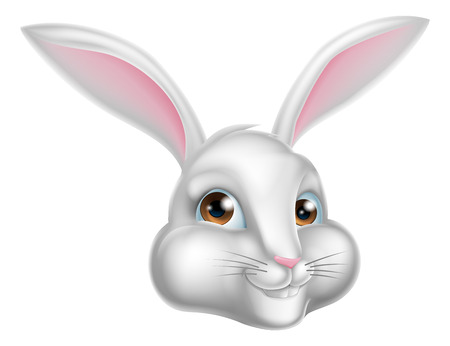 A cute cartoon whaite rabbit, could be the Easter bunny