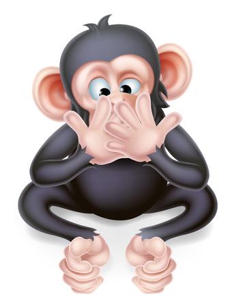 Speak no evil cartoon wise monkey covering his mouth Векторная Иллюстрация