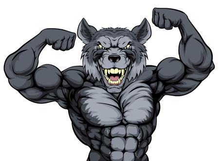Wolf Sport Maskottchen zeigt seine Bizeps und bereit für einen Kampf