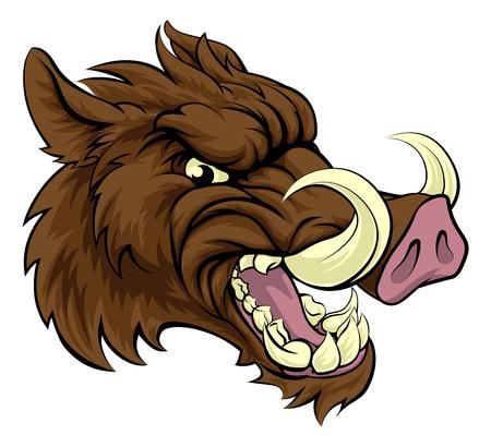 Een zwijn razorback sporten mascotte karakter Vector Illustratie