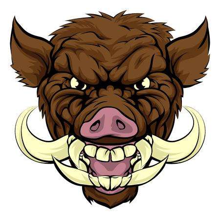 멧돼지 면도칼 스포츠 마스코트 캐릭터
