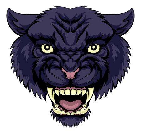 Eine Abbildung eines mittleren leistungsfähigen schwarzen Panther Tier Gesicht Standard-Bild - 50473940