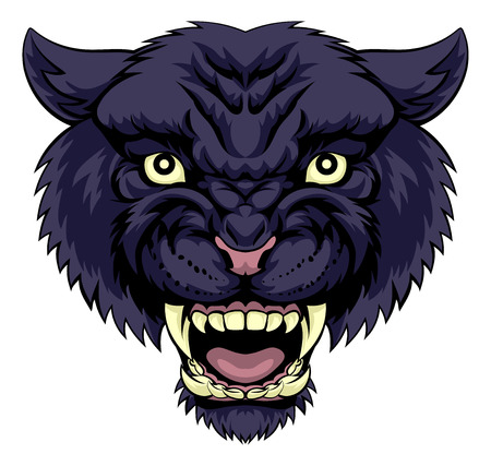 An illustration of a mean powerful black panther animal face