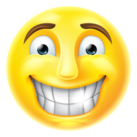 A smiling cartoon emoji emoticon smiley face character