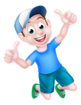 A happy cartoon boy child in a baseball cap jumping for joy and giving a thumbs up.