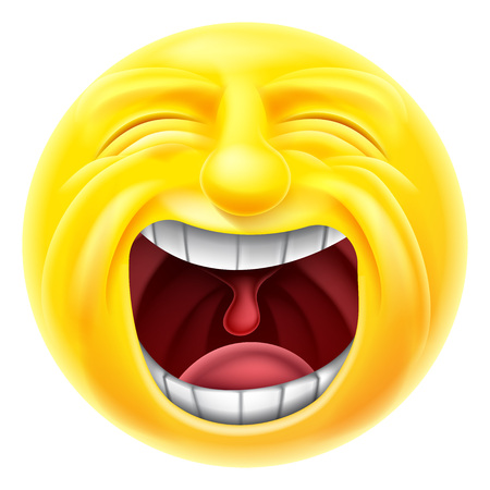 A screaming cartoon emoji emoticon smiley face character