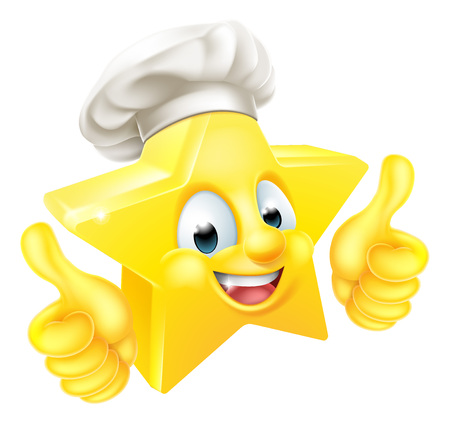 Chef emoji émoticône étoiles Cartoon personnage mascotte gining un double coup de pouce