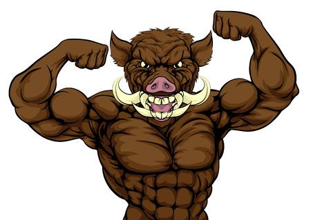 Sanglier razorback phacochère mascotte de sports d'animaux montrant ses biceps et prêt pour une bagarre