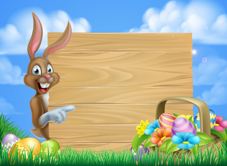 Cartoon easter background of Easter bunny and Easter basket full of decorated chocolate Easter eggs and a big sign