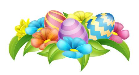 Huevos de Pascua y flores de la primavera de elementos de diseño de dibujos animados Ilustración de vector